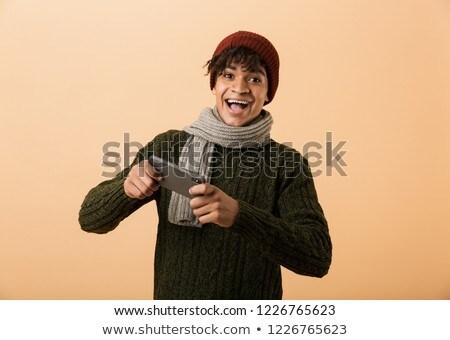 mutlu · adam · sıcak · eşarp - stok fotoğraf © deandrobot