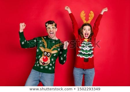Hombre victoria árbol de navidad emoción éxito Foto stock © dolgachov