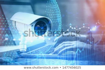 Megfigyelés szöveg táblagép kék digitális világtérkép Stock fotó © Mazirama