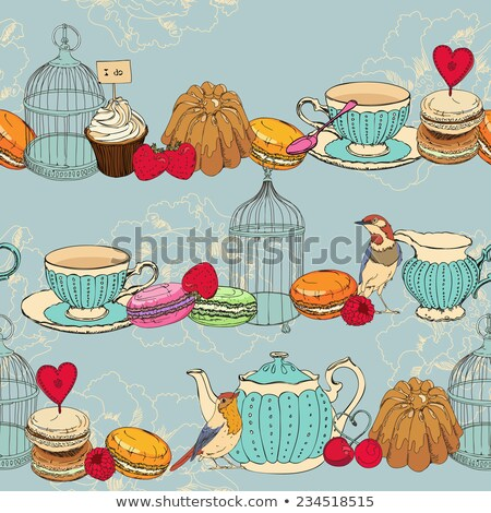 pattern of Tea cups, pots, jars, cupcake In vintage style. Stock photo © Margolana