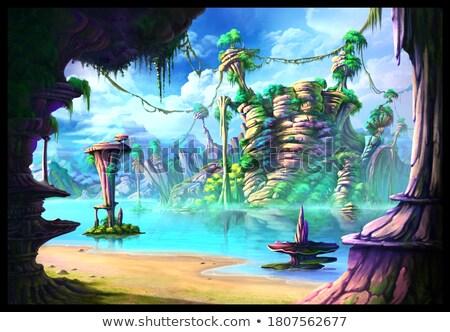 Kastély lebeg sziget jelenet illusztráció háttér Stock fotó © bluering