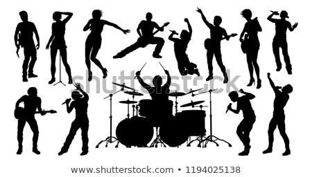 Müzisyenler kaya pop bant siluetleri ayarlamak Stok fotoğraf © Krisdog