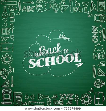 terug · naar · school · kid · krijt · boord · kaart - stockfoto © cienpies