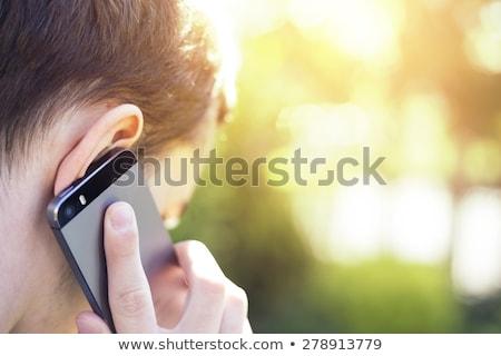 Kafkas işadamı konuşma cep telefonu yürüyen merdiven Stok fotoğraf © wavebreak_media