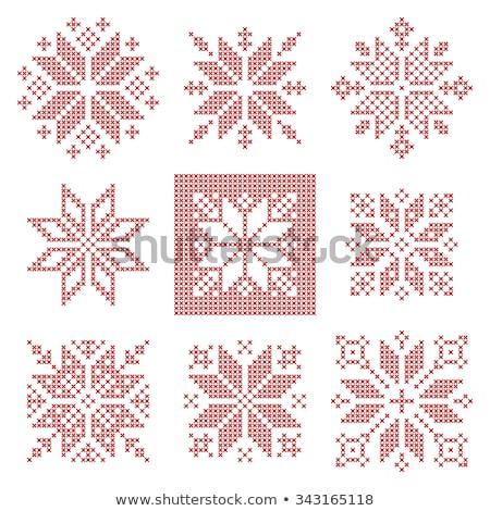 Christmas vector corner set - Scandinavian style, folk design elements with snowflakes in white on r Stock photo © RedKoala