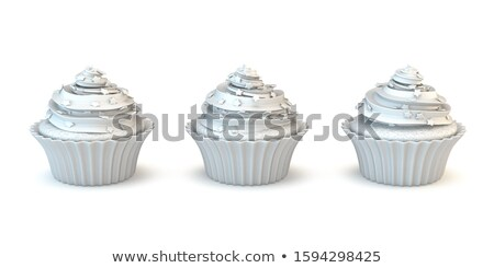 Three white muffin cakes 3D Stock photo © djmilic