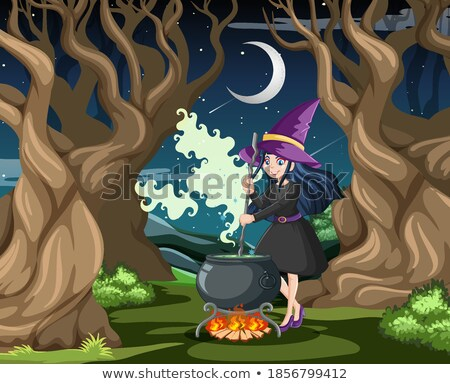 Wizard or witch with magic pot on dark forest background Stock photo © bluering