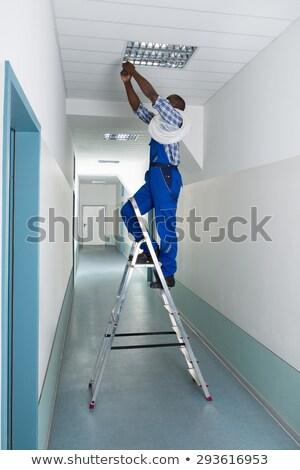 bouwvakker · plafond · huis · man - stockfoto © photography33