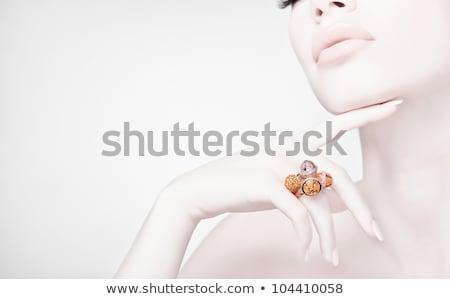 Güzel bir kadın high fashion takı seksi kadın yüz Stok fotoğraf © tobkatrina