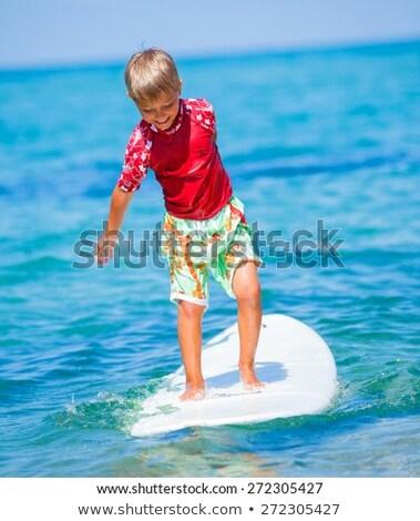 boy surfing in the pool Stock photo © meinzahn