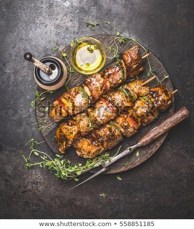 Tyúk barbecue kebab étel vacsora Stock fotó © M-studio