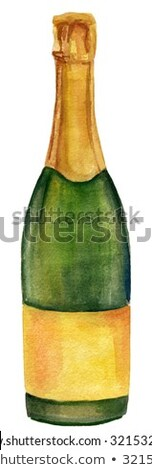 champagne bottle and champagne glass watercolor painting on white background stock photo © netkov1