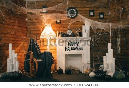 halloween · díszítések · öreg · fából · készült · tökök · aszalt - stock fotó © Lana_M