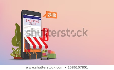 compras · on-line · móvel · digital · marketing · conjunto - foto stock © kup1984
