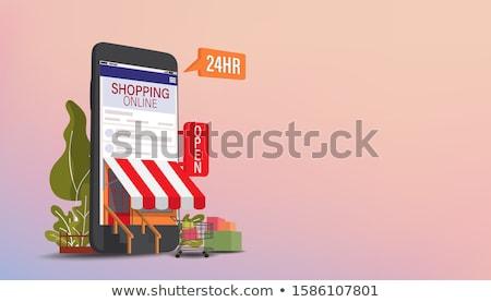 Compras on-line móvel digital marketing conjunto Foto stock © kup1984