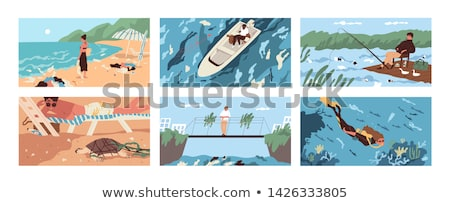 Fisherman Seashores People Set Vector Illustration Stock photo © robuart