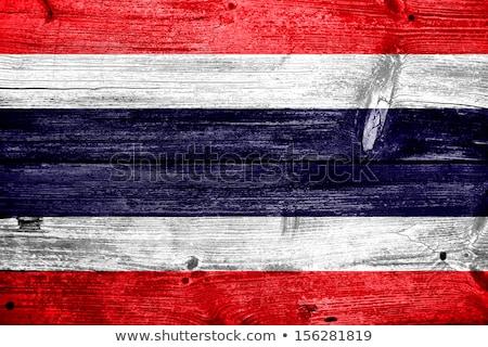 Vlag Thailand houten frame illustratie hout ontwerp Stockfoto © colematt