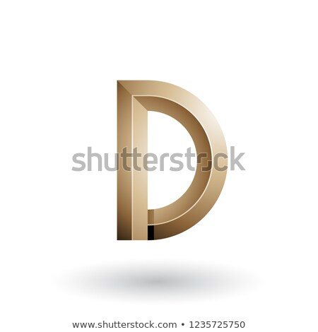 Beige Glossy and Bold 3d Geometrical Letter D Vector Illustratio Stock photo © cidepix