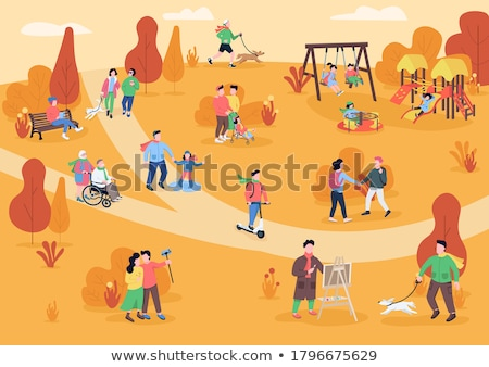 People in Park Resting and Have Fun Cartoon Banner Stock photo © robuart