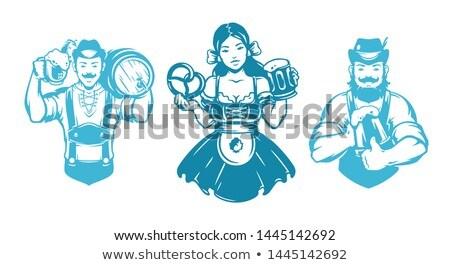 Rajz Oktoberfest nő felirat illusztráció papír Stock fotó © cthoman