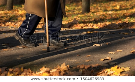 Poor senior men walking with a walker outside Stock photo © Lopolo