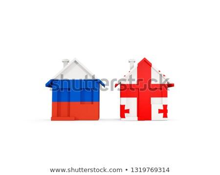 Dos casas banderas Rusia Georgia aislado Foto stock © MikhailMishchenko