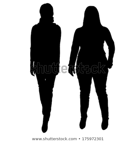 Silhouette of overweight woman on white background Stock photo © bluering