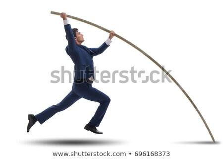 Sportowiec skoki przeszkoda biały ilustracja dziecko Zdjęcia stock © bluering