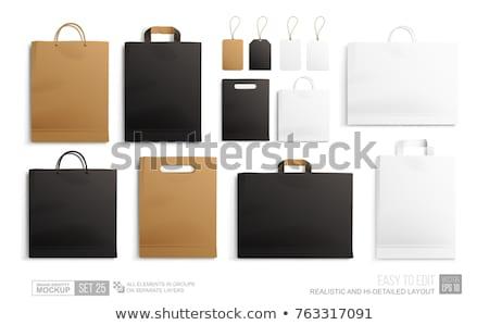 白 · 黒 · 紙袋 · パッケージ · 実例 · 孤立した - ストックフォト © netkov1