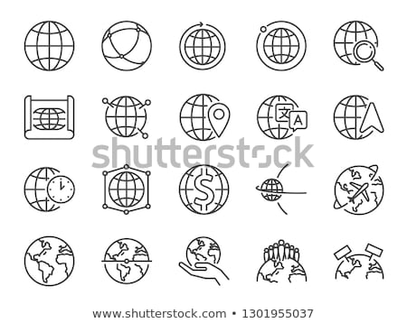 planet rotation icon vector outline illustration Stock photo © pikepicture