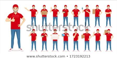 курьер человека красный равномерный иллюстрация Сток-фото © bluering