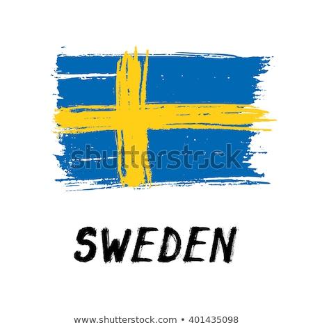Grunge vlag Zweden oude vintage grunge textuur Stockfoto © HypnoCreative