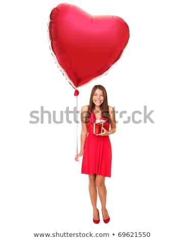 ázsiai fiatal nő tart piros szeretet szöveg Stock fotó © bmonteny