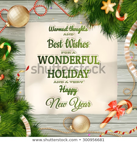 Stock fotó: Karácsonyi · üdvözlet · eps · 10 · fa · deszka · vektor · akta
