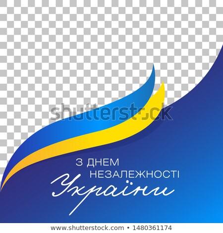 Bandera Ucrania marco azul oro color Foto stock © nezezon