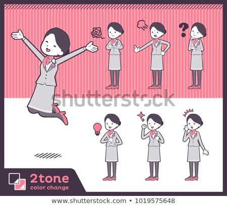 Tipo cabine escritório sorrir mulheres terno Foto stock © toyotoyo