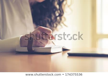 Közelkép nő ír napló otthon tea Stock fotó © wavebreak_media