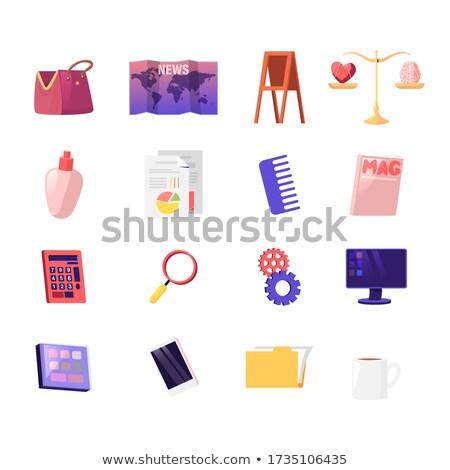Woman with Cogwheel Screen Icons Data Analysis Stock photo © robuart