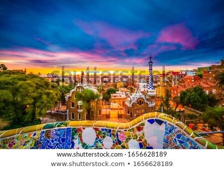 Barcelona sziluett szín épületek kék ég üzleti út Stock fotó © ShustrikS