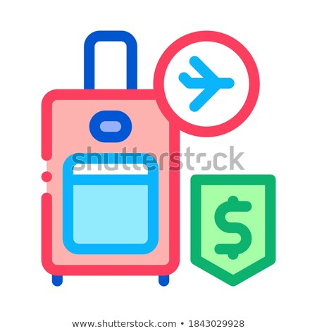 purchase suitcases with handle duty free icon vector outline illustration Stock photo © pikepicture