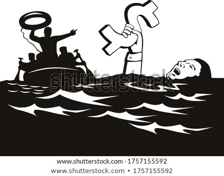Man Drowning With Debt Dollar Being Rescued Retro Black and White Stock photo © patrimonio
