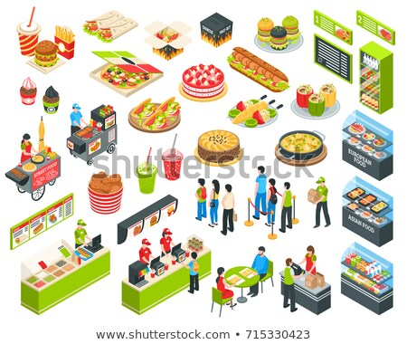 Street Food And Drink Isometric Icons Set Vector Stock photo © pikepicture