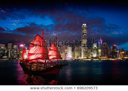 Kacat csónak Hongkong kikötő sziluett városkép Stock fotó © dmitry_rukhlenko