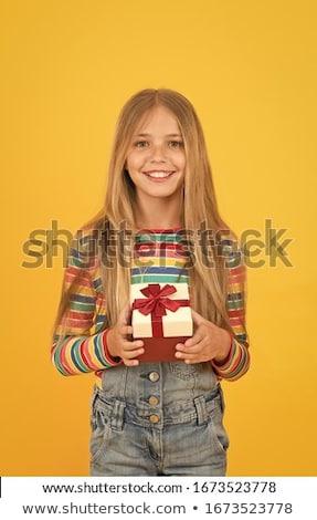 Karácsony lány bemutat ajándék portré aranyos Stock fotó © williv