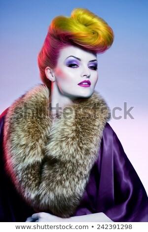 színes · nyalóka · extrém · divat · smink · lány - stock fotó © lithian
