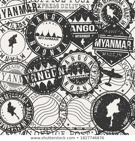 Posta Myanmar görüntü damga harita bayrak Stok fotoğraf © perysty