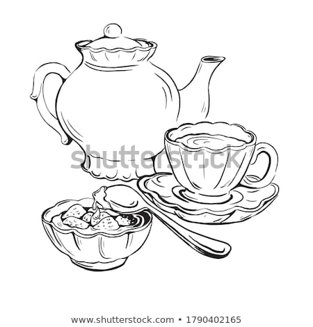 Antigo copo chá chá da tarde preto lona Foto stock © PixelsAway