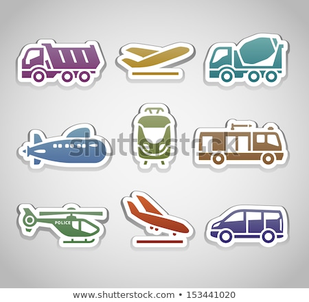 flat retro color stickers - set thirteen Stock photo © Ecelop