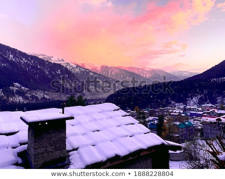 forest with snow covered mountains in the background manali hi stock photo © imagedb