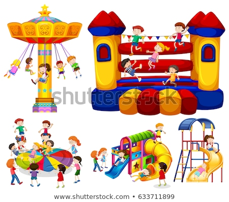 Many children jumping on bouncing castle Stock photo © bluering